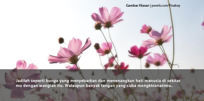 Jadilah Seperti Bunga Yang Menyebarkan Dan Menenangkan Hati Manusia Di Sekitar Mu Dengan Wangian Itu. Walaupun Banyak Tangan Yang Cuba Mengkhianatimu..